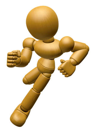 endeavor: 3D Wood Doll Mascot go as fast as one can. 3D Wooden Ball Jointed Doll Character Design Series. Stock Photo
