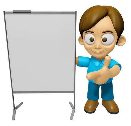 concise: 3D Man Mascot is concise explanation of a whiteboard. Work and Job Character Design Series 2.