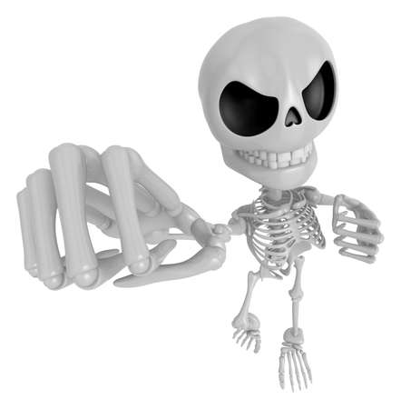 ones: 3D Skeleton Mascot is the strike with ones fist. 3D Skull Character Design Series.