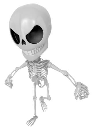 indignation: 3D Skeleton Mascot is Get angry fist tight. 3D Skull Character Design Series Stock Photo