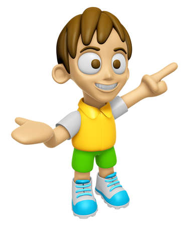 knockdown: 3D Child Mascot has been welcomed with both hands. Work and Job Character Design Series 2. Stock Photo