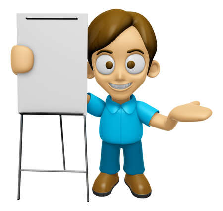 inform: 3D Man Mascot is presentation in front of the a briefing chart. Work and Job Character Design Series 2. Stock Photo