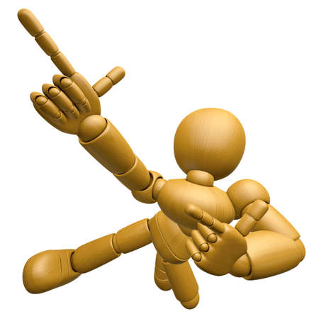 3d doll: 3D Wood Doll Mascot is taking gestures of Double pistols. 3D Wooden Ball Jointed Doll Character Design Series. Stock Photo
