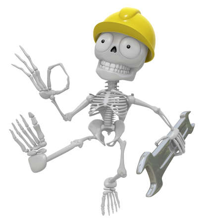 creation of sites: 3D Skeleton Mascot the right hand OK gesture and the left hand is holding a spanner. 3D Skull Character Design Series.