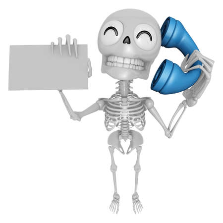 call me: 3D Skeleton Mascot Please call me today. 3D Skull Character Design Series.