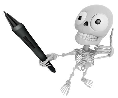 anatomic: 3D Skeleton Mascot the left hand telephone gesture and right hands is holding a tablet pen. 3D Skull Character Design Series.