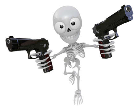 combatant: 3D Skeleton Mascot is cowboys holding an automatic pistol with both hands. 3D Skull Character Design Series. Stock Photo