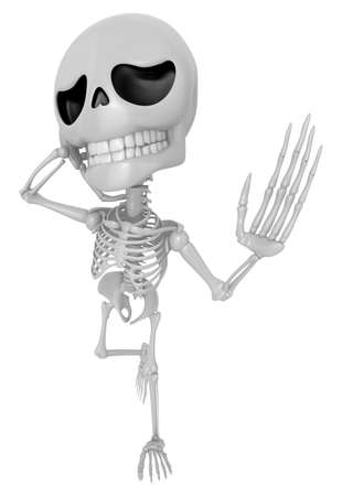sore throat: 3D Skeleton Mascot has a sore throat. 3D Skull Character Design Series. Stock Photo