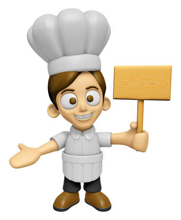 inform: 3D Chef Man Mascot the hand is holding a picket. Work and Job Character Design Series 2