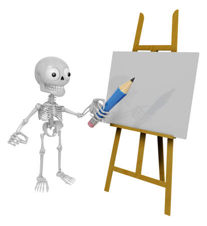 jawbone: 3D Skeleton Mascot is There in front of the easel holding a pencil. 3D Skull Character Design Series.