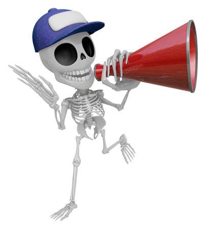 loudhailer: 3D Skeleton Mascot is speakn over a loudspeaker. 3D Skull Character Design Series.