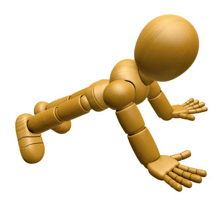 push up: 3D Wood Doll Mascot to play push up. 3D Wooden Ball Jointed Doll Character Design Series. Stock Photo
