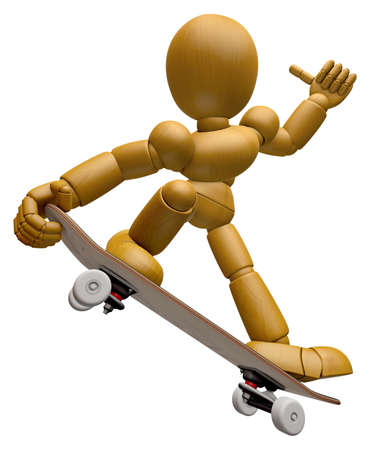 jointed: 3D Wood Doll Mascot to play skateboard. 3D Wooden Ball Jointed Doll Character Design Series.