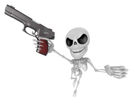 gunslinger: 3D Skeleton Mascot is cowboys taking to pose a gunfight. 3D Skull Character Design Series.