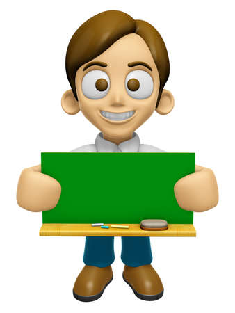 informing: 3D Man Mascot holding a big board with both Green chalkboard. Work and Job Character Design Series 2. Stock Photo