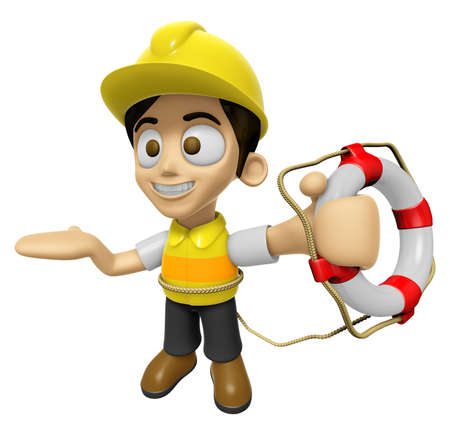 lifebelt: 3D Construction Worker Man Mascot the hand is holding a Lifebelt. Work and Job Character Design Series 2. Stock Photo