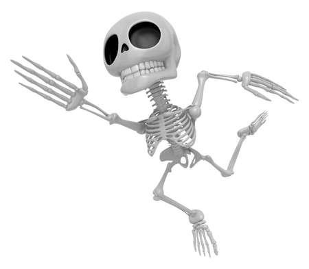 endeavor: 3D Skeleton Mascot Goes up like a cartoon hero. 3D Skull Character Design Series Stock Photo
