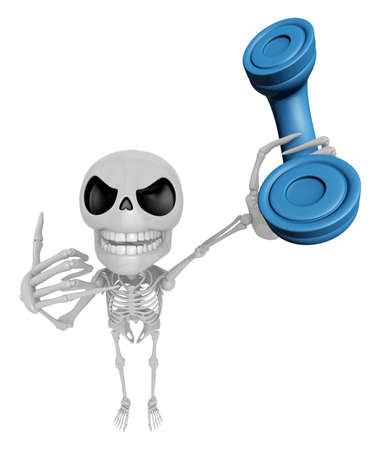 anatomic: 3D Skeleton Mascot just calls me back when you have more time. 3D Skull Character Design Series. Stock Photo