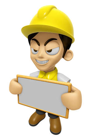 creation of sites: 3D Construction Worker Man Mascot holding a big board with both hands. Work and Job Character Design Series 2. Stock Photo