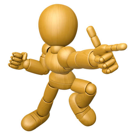 jointed: 3D Wood Doll Mascot is points a finger one direction. 3D Wooden Ball Jointed Doll Character Design Series. Stock Photo