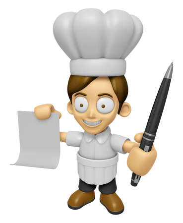 ballpoint: 3D Chef Man Mascot hand is holding a Document and ballpoint pen. Work and Job Character Design Series 2.