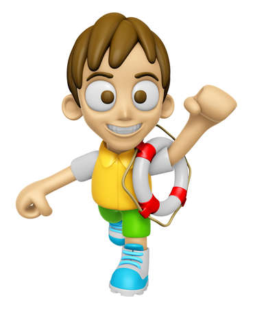 lifebelt: 3D Child Mascot the hand is holding a Lifebelt. Work and Job Character Design Series 2.