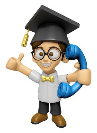 savant: 3D Scholar Man Mascot Please call me today. Work and Job Character Design Series 2.