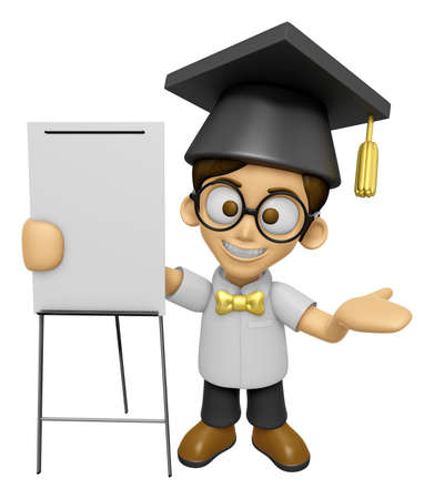 concise: 3D Scholar Man Mascot is concise explanation of a whiteboard. Work and Job Character Design Series 2.