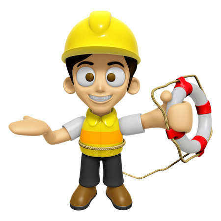 creation of sites: 3D Construction Worker Man Mascot the hand is holding a Lifebelt. Work and Job Character Design Series 2. Stock Photo