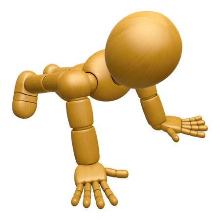 jointed: 3D Wood Doll Mascot to play push up. 3D Wooden Ball Jointed Doll Character Design Series. Stock Photo