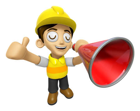 publicity: 3D Construction Worker Man Mascot is speakn over a loudspeaker. Work and Job Character Design Series 2.