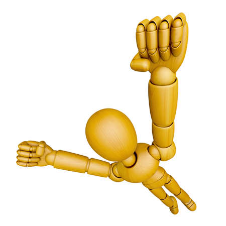jointed: 3D Wood Doll Mascot flying to the sky. 3D Wooden Ball Jointed Doll Character Design Series. Stock Photo