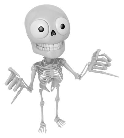 live feeling: 3D Skeleton Mascot is Taking a gesture that promises. 3D Skull Character Design Series. Stock Photo