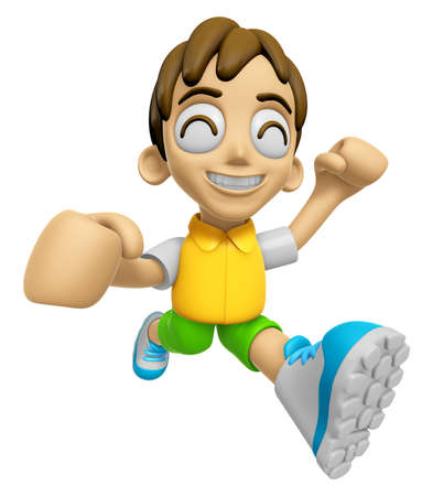 exertion: 3D Child Mascot on Running. Work and Job Character Design Series 2.