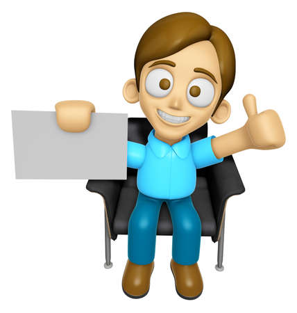 assume: 3D Man Mascot is sitting on a chair assume the gesture of the best. Work and Job Character Design Series 2. Stock Photo