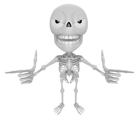 jawbone: 3D Skeleton Mascot is taking gestures of Double pistols. 3D Skull Character Design Series.