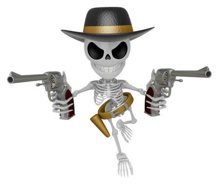 miscreant: 3D Skeleton Mascot is villains holding a revolver gun with both hands. 3D Skull Character Design Series. Stock Photo