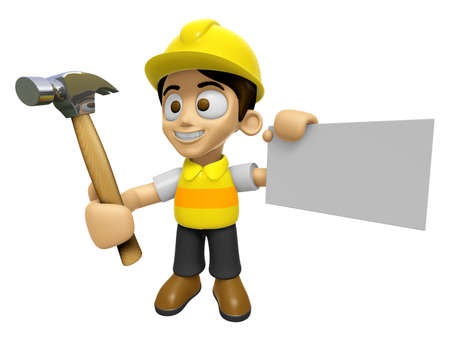 creation of sites: 3D Construction Worker Man Mascot holding a with both hammer and business card. Work and Job Character Design Series 2.
