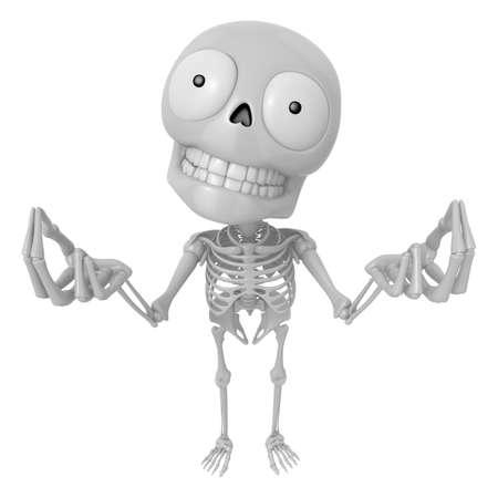 mortal: 3D Skeleton Mascot is money gestures of both hands. 3D Skull Character Design Series.