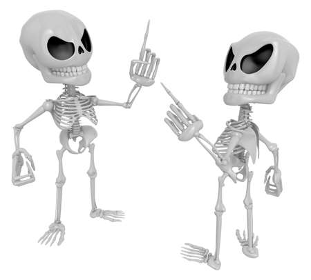 contended: 3D Skeleton Mascot contended with for opponents of something. 3D Skull Character Design Series. Stock Photo