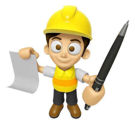 publicity: 3D Construction Worker Man Mascot hand is holding a Document and ballpoint pen. Work and Job Character Design Series 2.