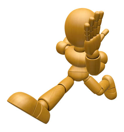 endeavor: 3D Wood Doll Mascot run at full speed. 3D Wooden Ball Jointed Doll Character Design Series. Stock Photo
