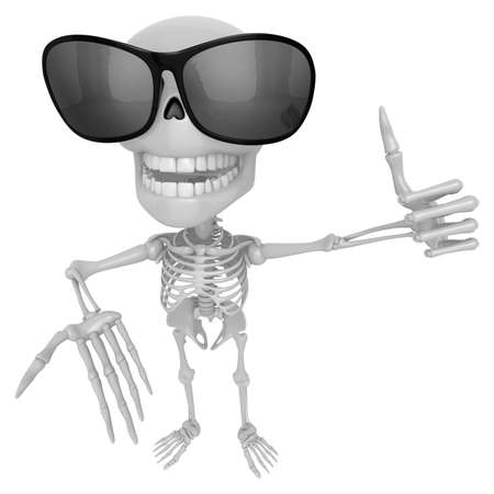 live feeling: 3D Skeleton Mascot the left hand best gesture and the right hand guides. 3D Skull Character Design Series.