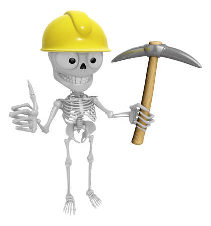 creation of sites: 3D Skeleton Mascot is holding electric pickax. 3D Skull Character Design Series. Stock Photo