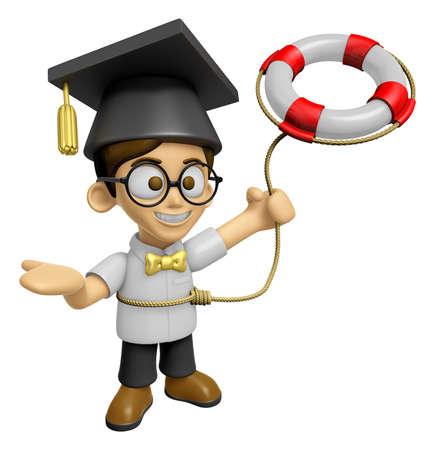 savant: 3D Scholar Man Mascot is throwing a Lifebelt. Work and Job Character Design Series 2. Stock Photo