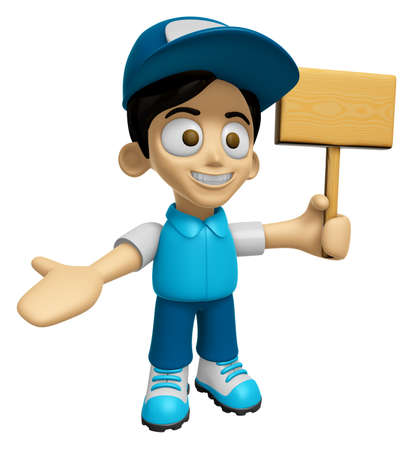 distribution board: 3D Delivery Service Man Mascot the hand is holding a picket. Work and Job Character Design Series 2.
