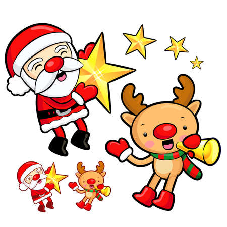 amemorial day: Santa Claus and Rudolph mascot the event activity. Christmas Character Design Series.