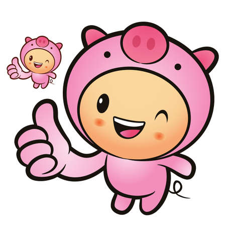 porker: Pig Mascot that is the best gesture. Animal Character Design Series.