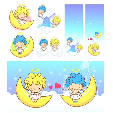 airiness: The fun moon on Girls and boys Angel Mascot. Angel Character Design Series.