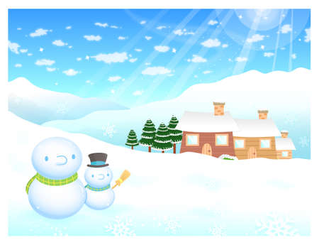 amemorial day: Snowman in winter background designs. Winter Season Character Design Series. Illustration